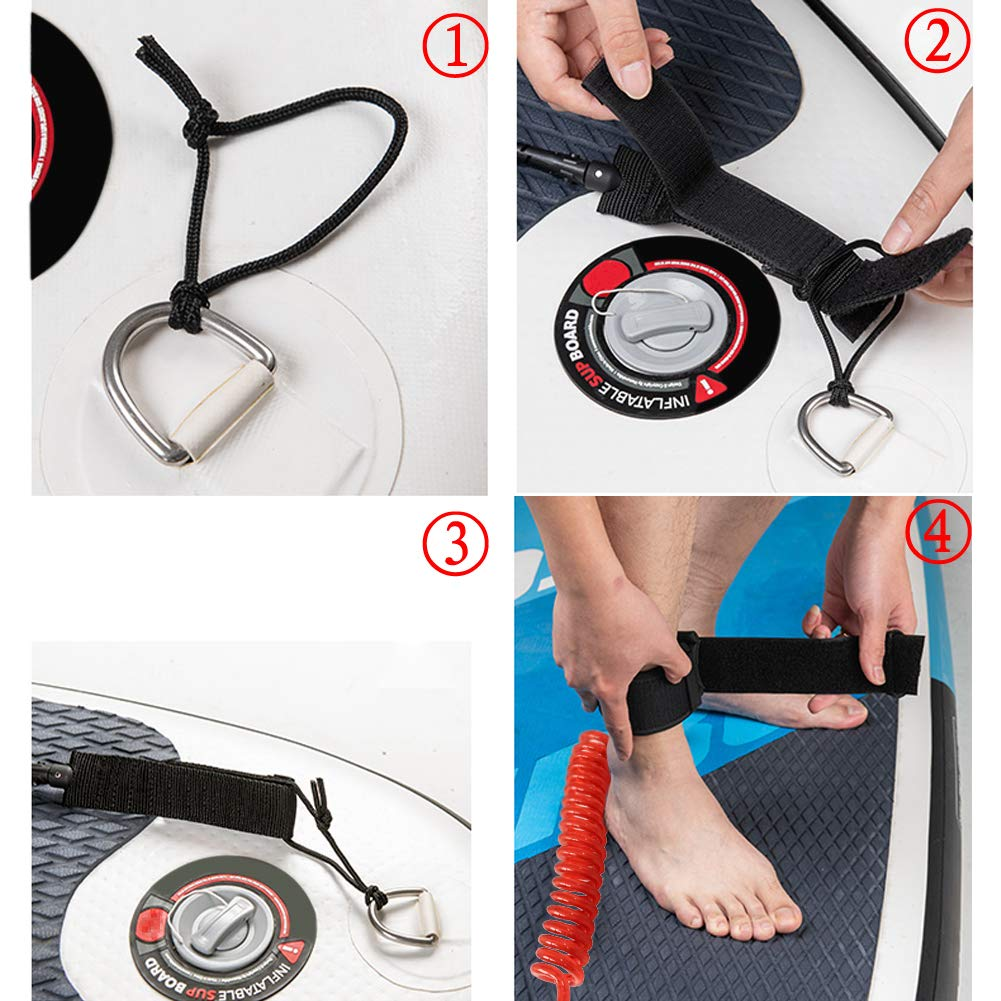 Codinter Surfboard Leash 12ft Coiled Paddle Board Leash Leg Rope for Safe Surfing SUP
