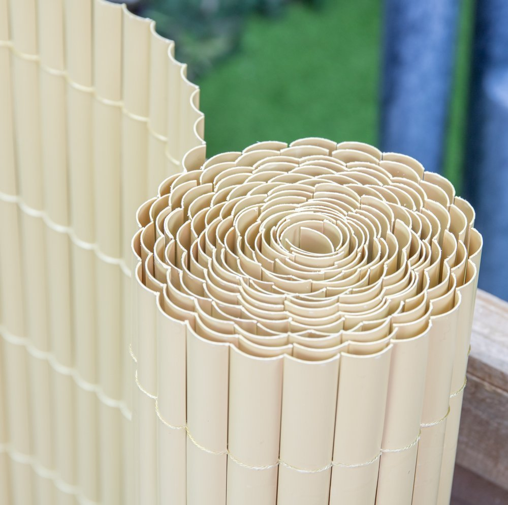 Artificial Split Bamboo Plastic Garden Fence Screening Roll Privacy Border Wind/Sun Protection 4.0 x 1.0m (13ft 1 in x 3ft 3in) By Papillon Primrose