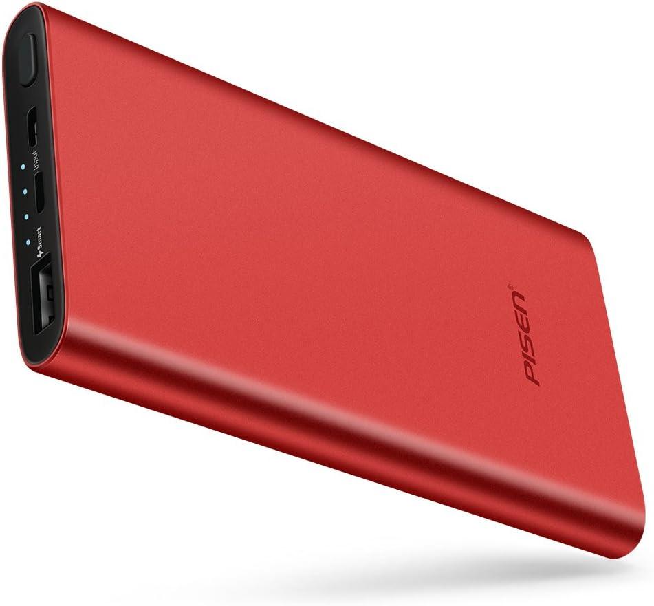 Pisen Ultrafino Banco de la energía, 10000mAh de Capacidad con Smart Salida 2,4A Alta Velocidad de Carga para iPhone, iPad, iPod, Samsung Galaxy Y Más