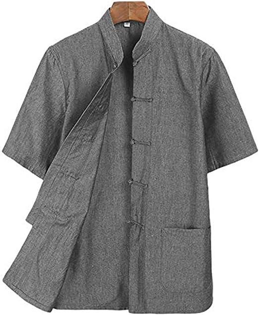 JKGHK Ropa de Artes Marciales Camisa Tai Chi Ropa Wing Chun Kung Fu Ropa de Manga Corta Tang,Gris,XXL: Amazon.es: Hogar