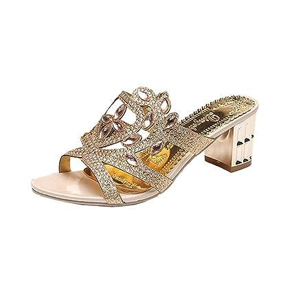 a8465012ae ZHRUI Diamante Sandali per Le Donne, in Pelle da Sposa Oro ...