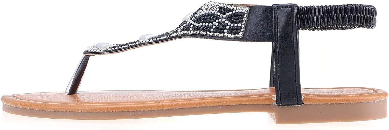 Cazuer Womens T-Strap Elastic Flat Sandals Open Toe Bohemian Rhinestone Thong Flip Flops Sandal
