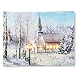 Collections Etc Snowy Church Lighted Canvas Wall Art Christmas Decoration