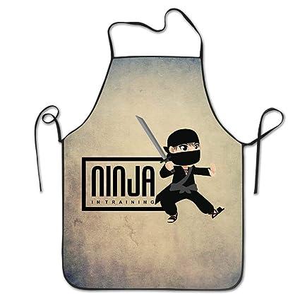 Beauregar Ninja in Training Warrior Samurai Cooking Aprons Bib ApronsAprons for Girls Boys Aprons Bulk Aprons for Women Men 28.3