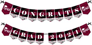 product image for Big Dot of Happiness Maroon Grad - Best is Yet to Come - Burgundy Graduation Party Bunting Banner - Party Decorations - Congrats Grad 2021