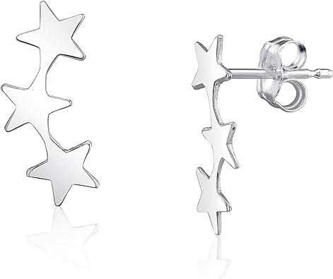 ear climber earrings Star ear crawlers Sterling Silver Stars Ear Climber Five star earrings IZS133