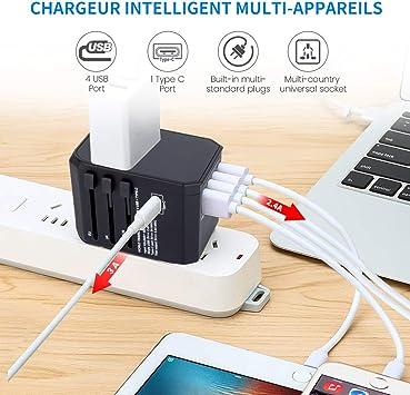 UK AU US Chargeur pour prise USB 2/ports pour voyager dans le monde entier prises de voyage internationales avec prises et fiches EU 65x54x56mm dor/é Noir