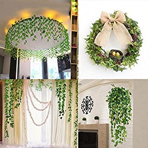QC Life 84 FT Artificial Ivy Fake Greenery Leaf Garland Plants Vine Foliage Flowers Hanging for Wedding Party Garden Home Kitchen Office Wall Decoration(12 Pack) 5