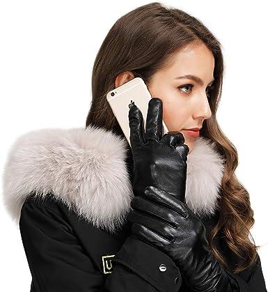 Acdyion Damen Winter Handschuhe Echtleder Touchscreen Warm Elegant Kaschmirfutter Kaschmir Lederhandschuhe Echtes Leder wasserdicht winddicht