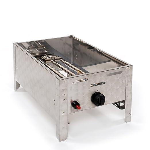 Parrilla de gas de combinado de Club focos Gas Parrilla Barbacoa Asador profesional para horno con parrilla Sartén Y Acero Inoxidable 1 4 KW: Amazon.es: ...