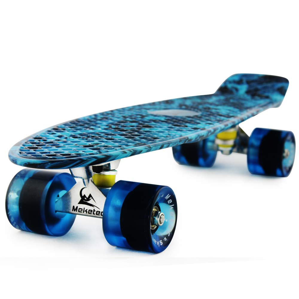 MEKETEC Skateboard Dog 22 inch Retro Mini Skateboards Kids Board for Boys Girl Youth Beginners Children Toddler Teenagers Adults 5 to 6 Year Old (Blue Flame)