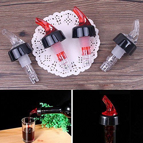 FTXJ Plastic Cap Liquor Spirit Pourer Cocktail Wine Stopper Dispenser (Red) by FTXJ (Image #3)