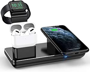 3 in 1 Charging Stand for iPhone Apple Watch SE/6/5/4/3/2 & AirPods Pro/2, Fast Wireless Charger for iPhone12Pro/12/11/11 Pro Max/XR/XS Max/Xs/X/8 (2021 Upgraded)