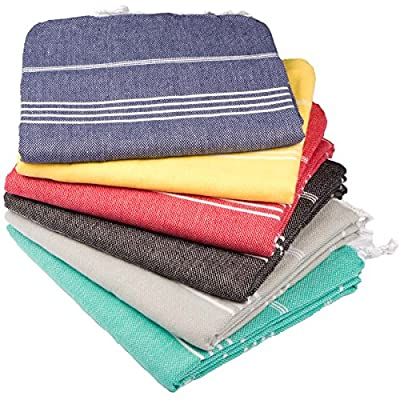 Clotho Towels Turkish Bath and Beach Towel Set of 6 - 39 x 70 inches - MADE IN TURKEY / LARGE SIZE: 39 W X 70 L Inc & 100 x 180 cm. Material: 100% Cotton Wash before use. It gets softer each time it gets washed. Turkish Towel Variety Set Comes in gift-able packaging and includes 6 different colors as shown in the main image and our towel set comes with one Turkish bath mitt ($7 Retail Value) MULTI-PURPOSE TOWELS: They can be used at Beach, Bath, Spa, Gym, Fitness, Yacht and Pool. It can also be used as Sarong, Pareo and scarf - bathroom-linens, bathroom, bath-towels - 61HmtEOJMVL. SS400  -