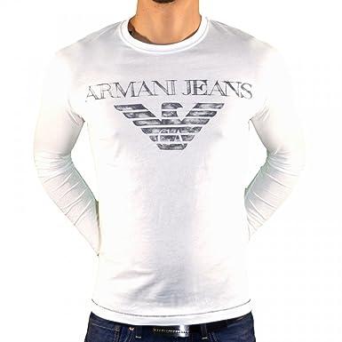 f4b68034a318 Armani Jeans - Tee Shirt Manches Longues - Homme - U6h05 - Blanc - S ...