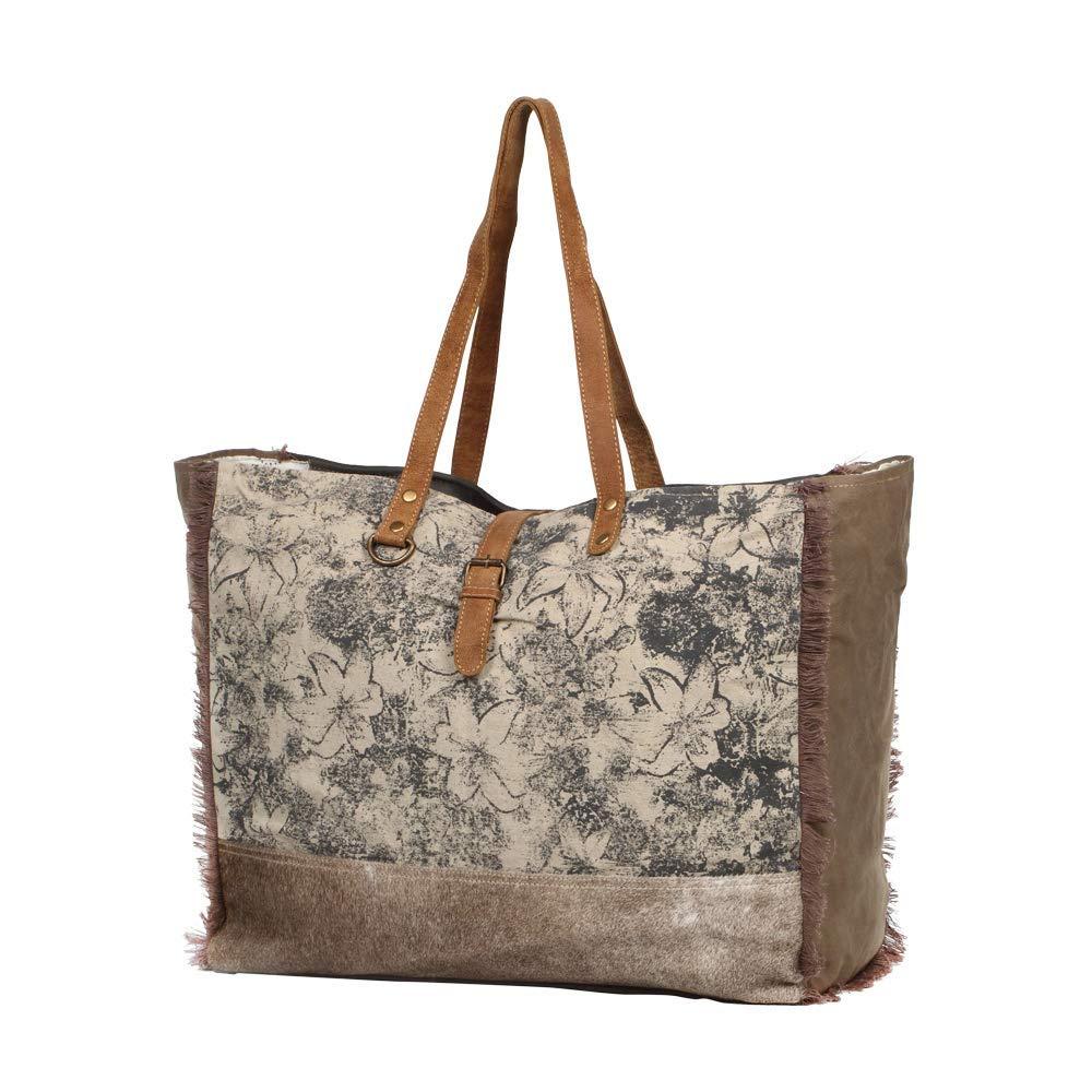 2bcbbdb8d936 Myra Bag Floweret Upcycled Canvas & Cowhide Leather Weekender Bag S-1274