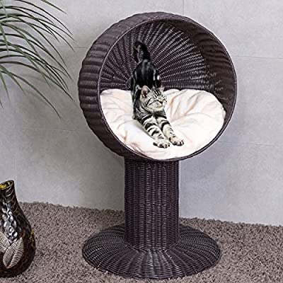 Tangkula 33″ Cat Bed Home Ball Hooded Rattan Wicker Elevated...