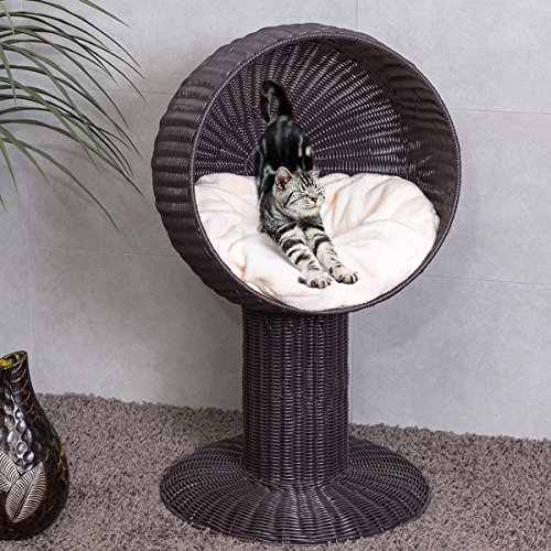 Tangkula Cat Bed Home Ball Hooded Rattan Wicker Elevated Cat Kitten Pussy Basket Bed (style round)