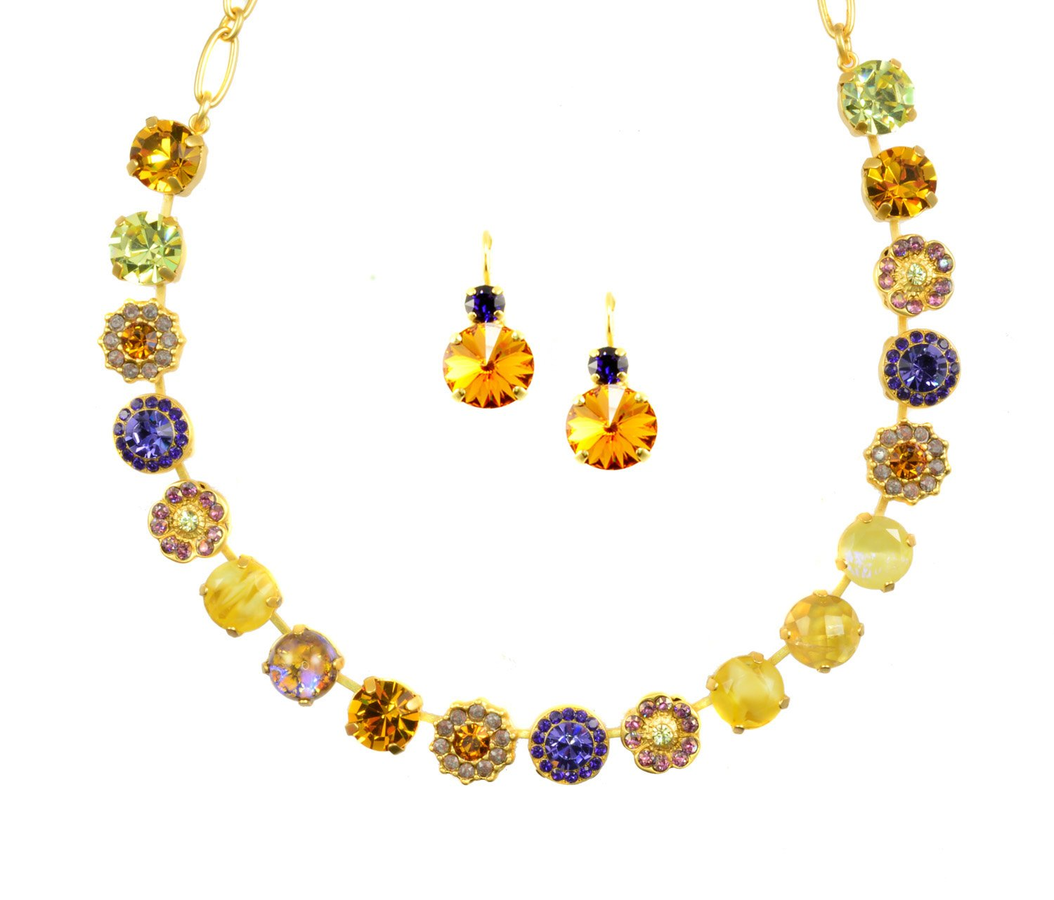 Mariana ''Hope'' Yellow Gold Plated Swarovski Crystal Flower Necklace and Earrings Set