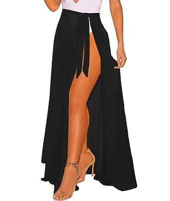 c49161b8632e0 Lalagen Womens Wrap High Waist Summer Beach Cover Up Maxi Skirt Black Plus  Size