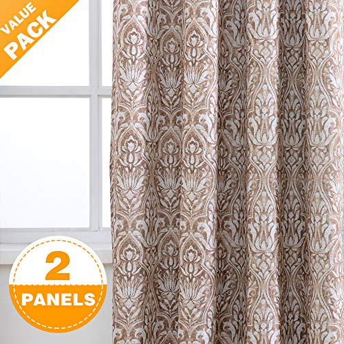 AJJ Damask Print Moderate Blackout Curtain Panels for Bedroom 84