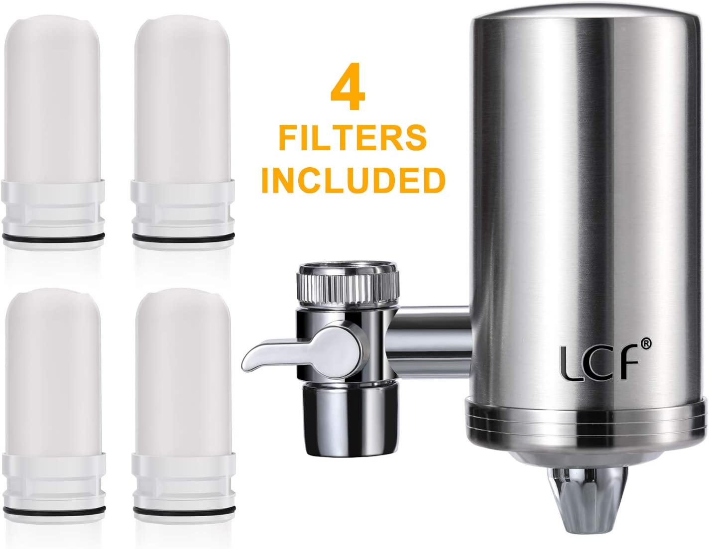 LCF Water Filter Faucet, Food Grade 304 Stainless Steel, Water Purifier with ACF Filter Element, with Double Outlet to Reduce Chlorine,Lead,BPA Free and Improve Hard Water(4 Filters Included)