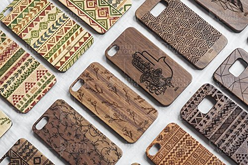 Louis Vuitton Cup Bags - Little Flower Pattern - Miniwood iPhone/ Samsung Case - Natural Real Wooden, Laser Engraving, Unique, Classy & Stylish Wood, Unique Case, Protective Bumper with Real All Wooden Cover