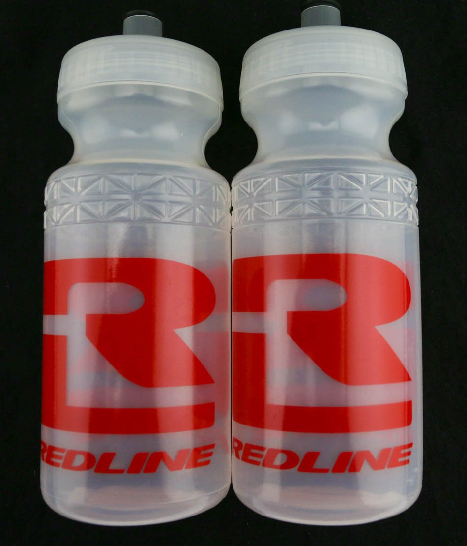 2 QTY Redline Bikes 20oz Ounce Bicycle Water Bottles Clear / Red Logo NEW