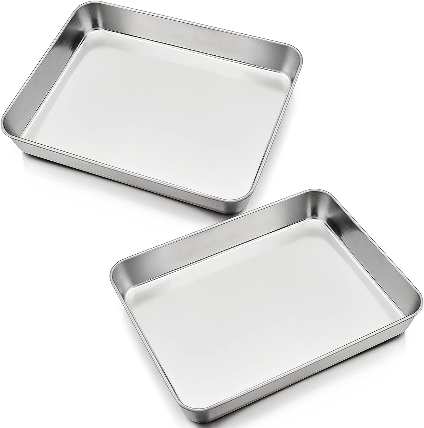 9.3 Inch Toaster Oven Pan Set of 2, P&P CHEF Stainless Steel Baking Pan for Small Toaster Oven, Rectangle Shape & 1.75-Inch Rim, Brush Finished & Dishwasher Safe