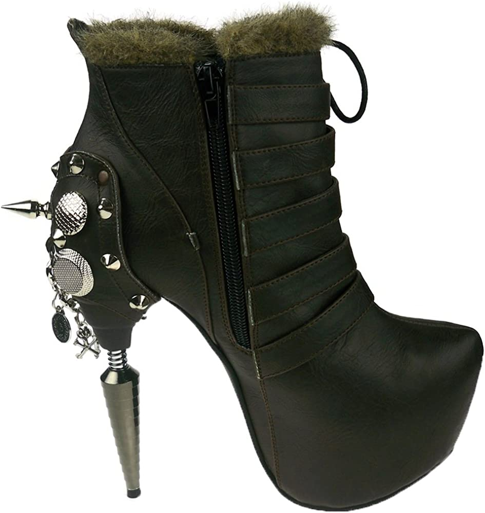 Hades Shoes Adler Dark Brown Stiletto Booties