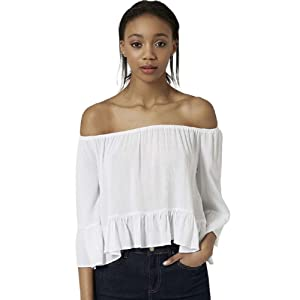 Blouse, Misaky Off Shoulder Elastic Casual Tops Shirt (S, White)