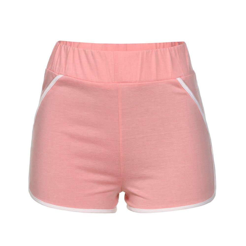 Qiujold Women Girls Running Shorts Gym Workout Yoga Sport Performance Shorts (S, Pink)