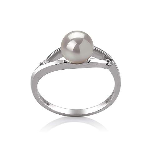 Tanya White - Anillo de perlas cultivadas en oro blanco de 14 ...