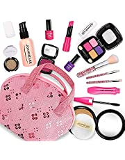 Pretend Makeup Kit for Girls, Beauty Basic Kids Makeup Set,Dress Up Pretend Play Toys Comes with Cosmetic Bag,Little Girls Toys for Ages 3,4,5,6,Great for Birthday Xmas Gift