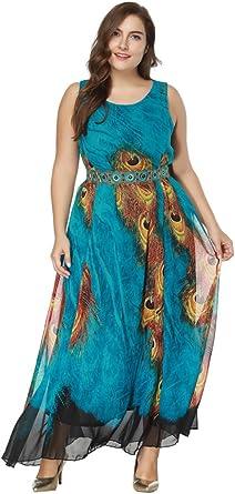 Vestido Mujer Elegante Tallas Grandes Vestidos De Coctel Sin Mangas Larga Vestido De Fiesta Azul Verde 8xl Amazon Es Ropa Y Accesorios