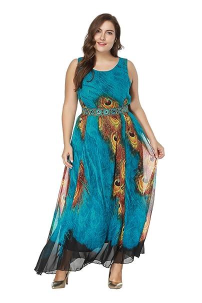 ZhuiKun Vestido Mujer Elegante Tallas Grandes Vestidos de Cóctel Sin Mangas Larga Vestido de Fiesta Azul