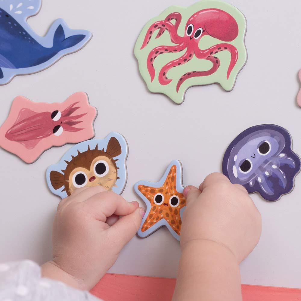 MAGDUM Animali MARINI Giochi Magnetici per Bambini Forma Animali per Frigorifero Piccolo o Grande Giochi per Bambini di 3 Anni Magneti Potenti per Giocare al TEATRO Magnetico