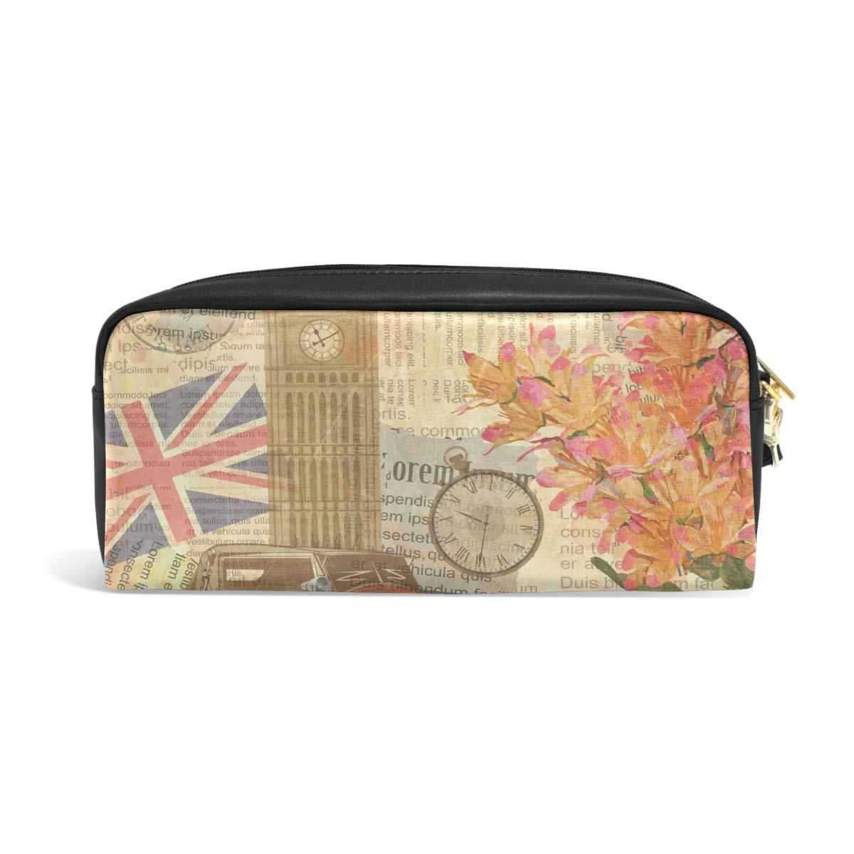 Bolso de papelería de pluma Vintage UK Flag Big Ben Car Maquillaje cosmético Bolsa Bolsa Monedero Cremallera Keepers Estuche de lápices para estudiante Niña Niño Niños: Amazon.es: Hogar
