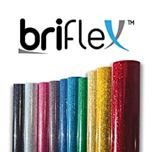 "BriFlex Heat Transfer Glitter Vinyl for T-Shirt and Apparel 20"" x 3' (1 Yard) Iron on HTV-GOLD"
