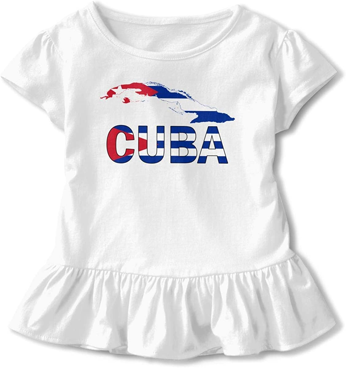 HelloWorlduk Toddler Baby Girl Cuba Map Flag and Text Funny Short Sleeve Cotton T Shirts Basic Tops Tee Clothes