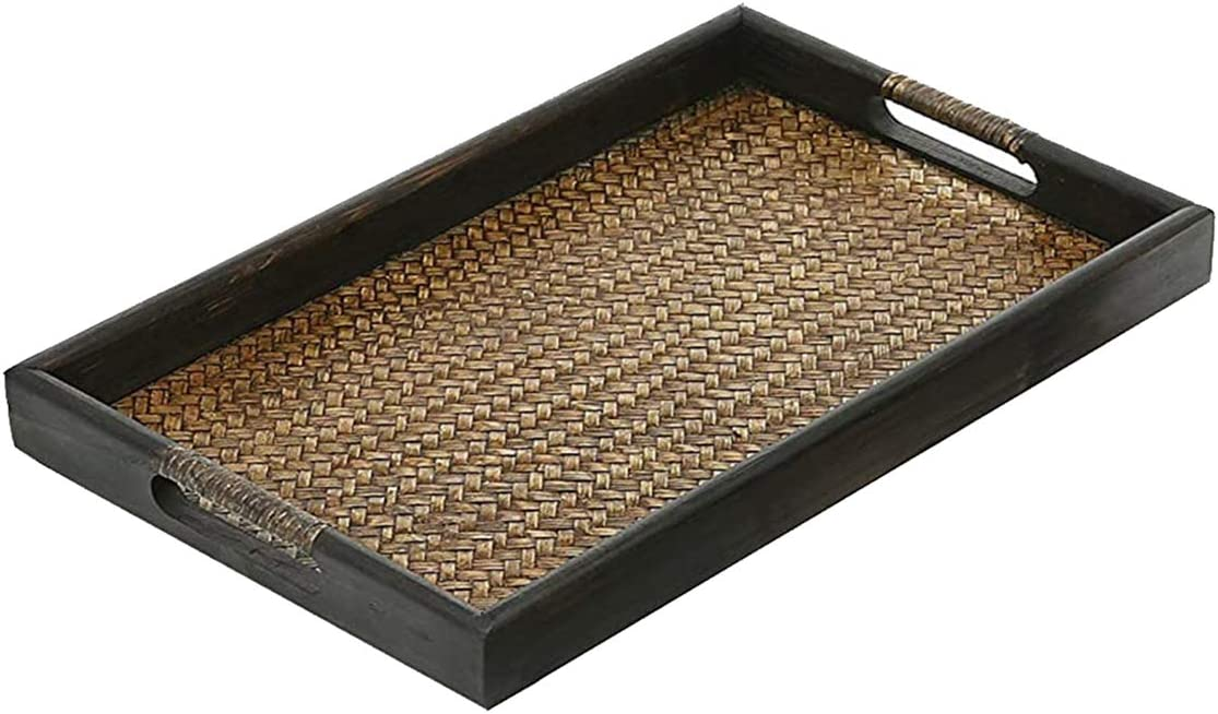 Thai-style Serving tray,Tropical Feel Decorative Tray,Rustic Coffee Table Tray,Wooden Ottoman Tray,Food Tray for Eating on Couch,Desktop Storage,Nightstand Organizer, 19.7Lx11.8Wx1.7H Inches