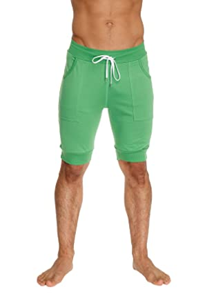 722d4c2a5d59b 4-rth Mens Cuffed Yoga Shorts with Pocket (Bamboo Green, Small)