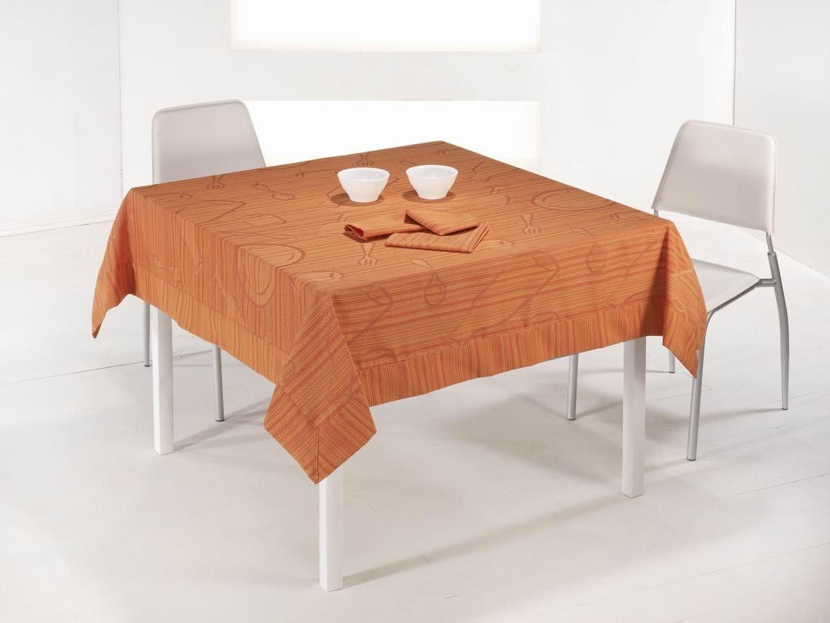 ESTELA - Mantel Tejido Mara Color Naranja - 155x250 cm. - Confección en Aplique - Incluye 12 servilletas - 50% Algodón / 50% Poliéster: Amazon.es: Hogar
