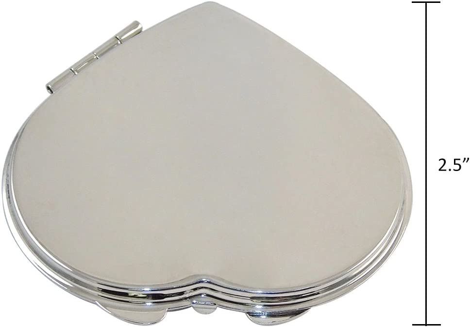 Ganz Compact Purse Mirror with Dual View, Monogram I in Center of Heart-Shape Metal Case.