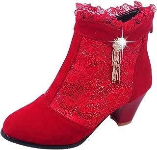 Femme Escarpins,Chaussures Sauvages pour Femmes Bottes Bottillons en Dentelle Retour Zipper Bottes Nues Bottes pour Dames,Chaussures à Talons Bas