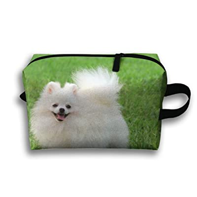 Michgton Cosmetic Bag White Pomeranian Dog Funny Adult Cute 3D Printing Travel Multifunction Makeup Case