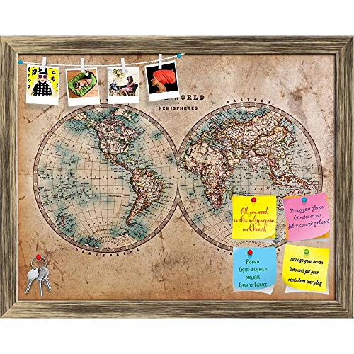 - Artzfolio Mid 1800S Old World Map Western & Eastern Hemispheres Printed Bulletin Board Notice Pin Board | Antique Golden Frame 20.3 X 16Inch