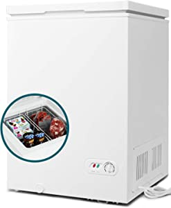 COOLHOME 3.5 Cubic Feet Chest Freezer with Removable Basket, from 6.8℉ to -4℉ Free Standing Compact Fridge Freezer for Home/Kitchen/Office/Bar (white)