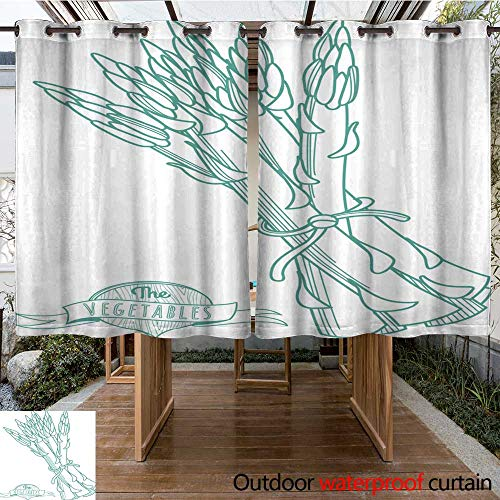 - RenteriaDecor Home Patio Outdoor Curtain Outline Hand Drawn Sketch of Asparagus (Flat Style Thin line) W55 x L72