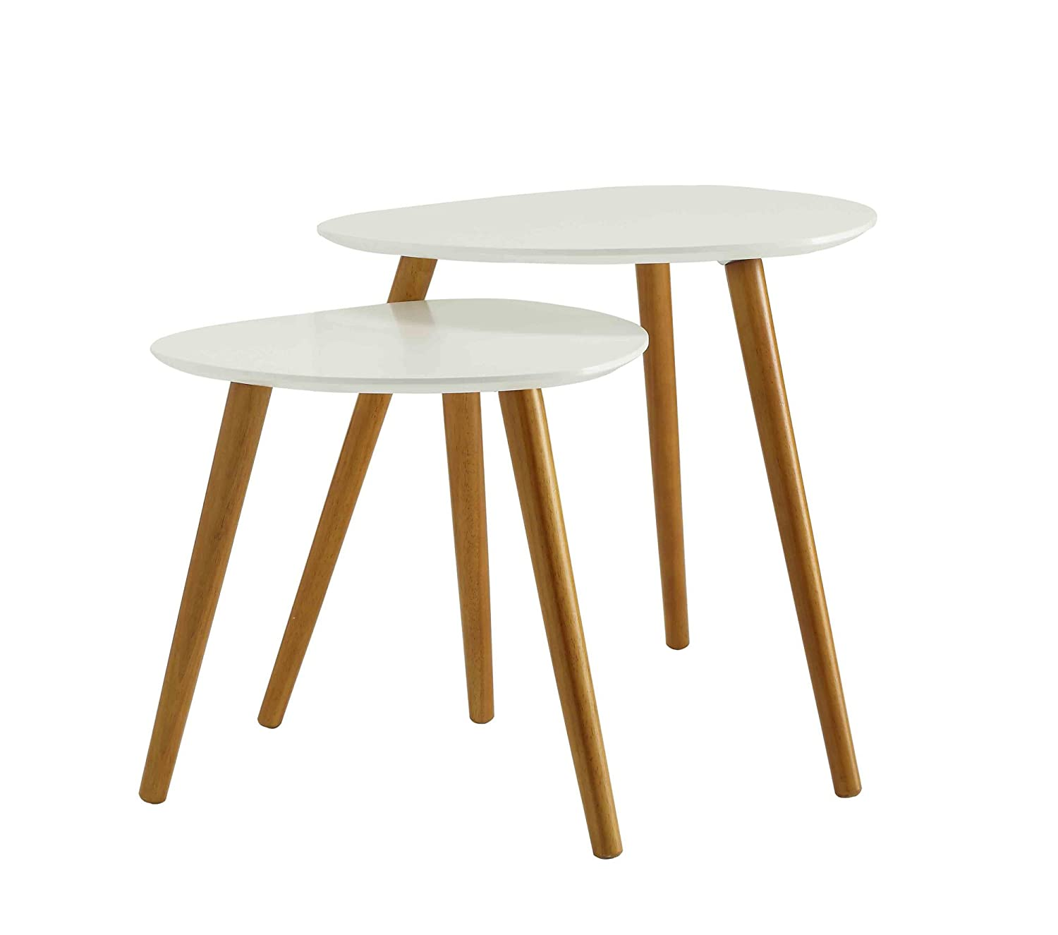 Convenience Concepts 203542 Oslo End Tables, White/Natural
